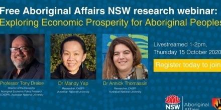 Exploring Economic Prosperity for Aboriginal Peoples webinar  1-2pm, 15 October 2020