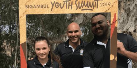 Bhiamie Williamson with Lilly Graham and Brenton Sefo, Youth Directors of Bigambul Native Title Aboriginal Corporation, Goondiwindi, Qld.