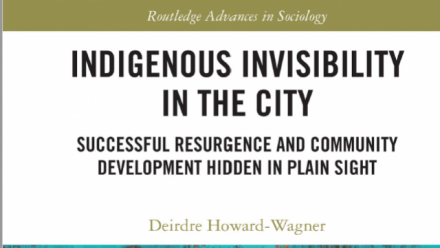 """Congratulations to Deirdre Howard-Wagner who has just sole published """"Indigenous Invisibility in the City"""""""
