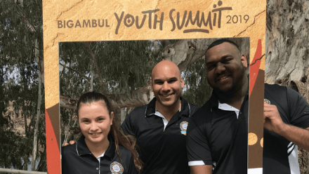 Bhiamie Williamson with Lilly Graham and Brenton Sefo, Youth Directors of Bigambul Native Title Aboriginal Corporation, Goondiwindi, Qld.